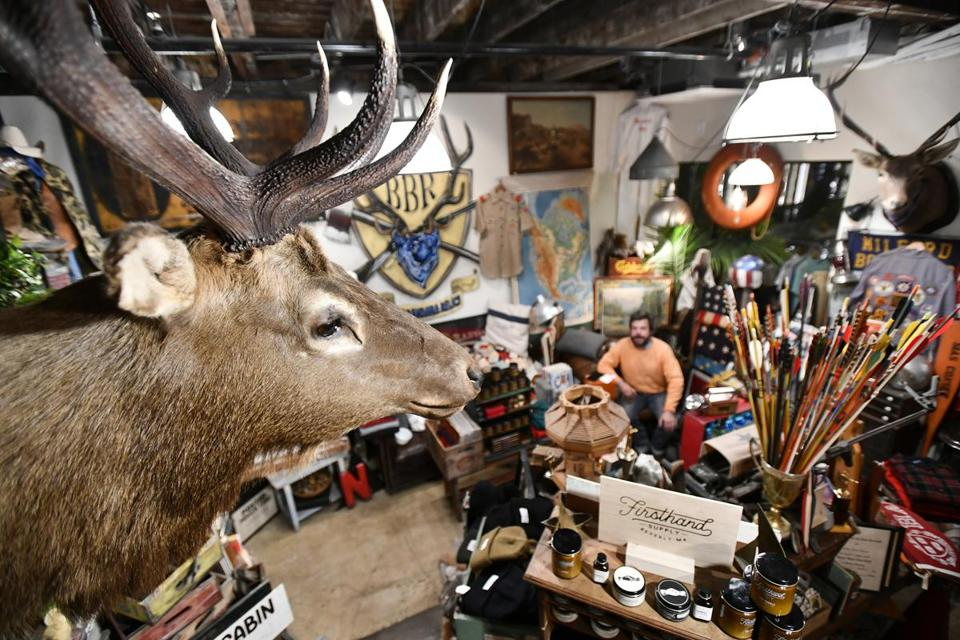 SOMERVILLE, 10/6/2018 - Taxidermy lines the walls of Blue Bandana Relics at Bow Market in Union Square, Somerville. Josh Reynolds for The Boston Globe (Lifestyle, morris)